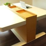 Pracovní stůl s dvěma plochami. Může být pro ty co: a) pracují ve dvou. b) pracují za dva. c) mají dvě pracovní nálady a chtějí mít pracovní i klidový ( k utřídění myšlenek atd.) prostor v jednom. Střed stolu tvoří funkční základna s horním odkládacím prostorem.