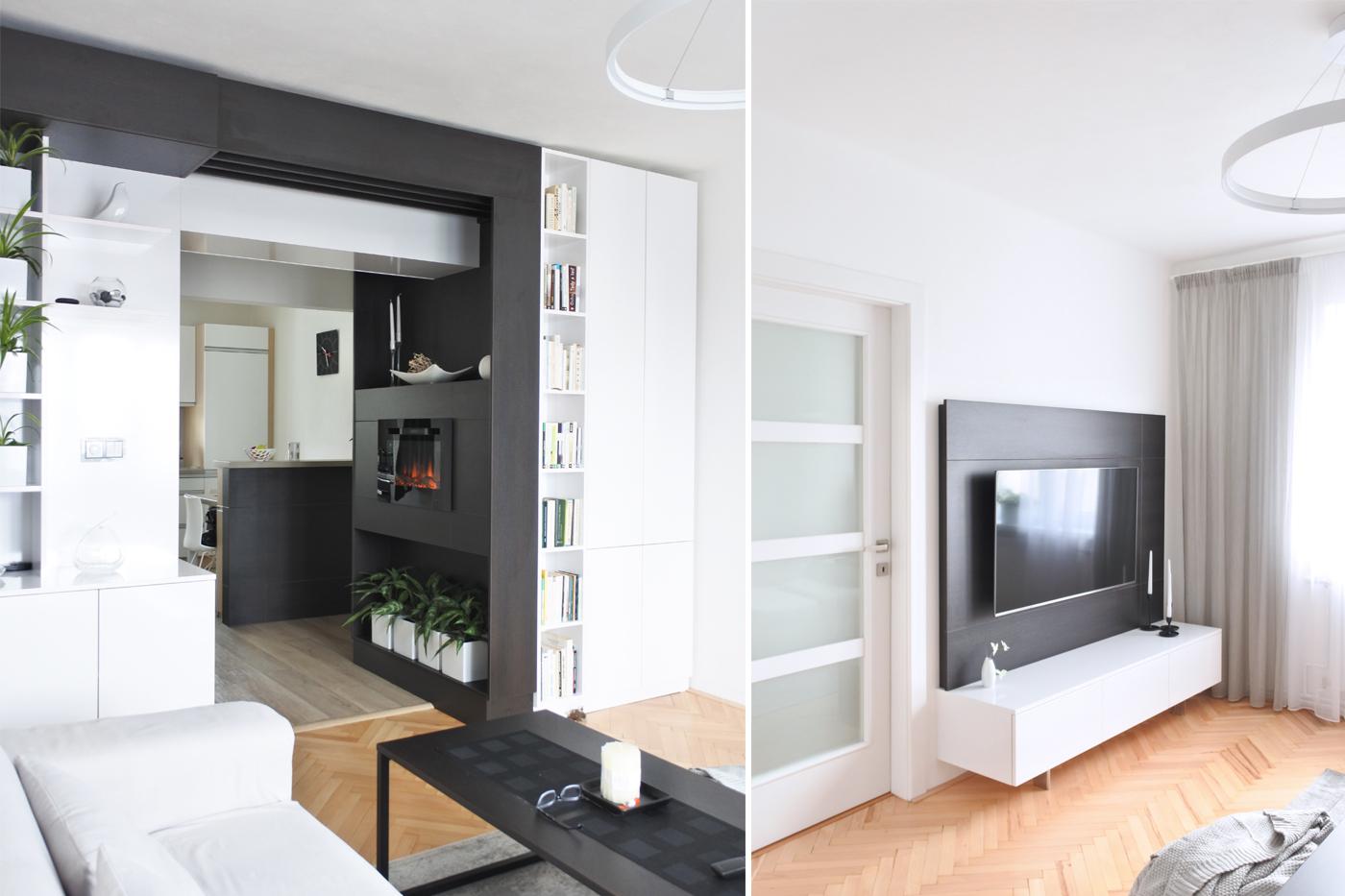 Díky tomu je zbytek obývacího pokoje bytu v Ostravě - Svinově vzdušnější.