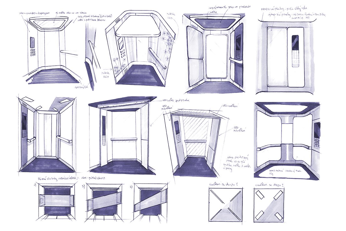 Design nových řad výtahových kabin pro firmu Lift Components začal kresebnými studiemi.