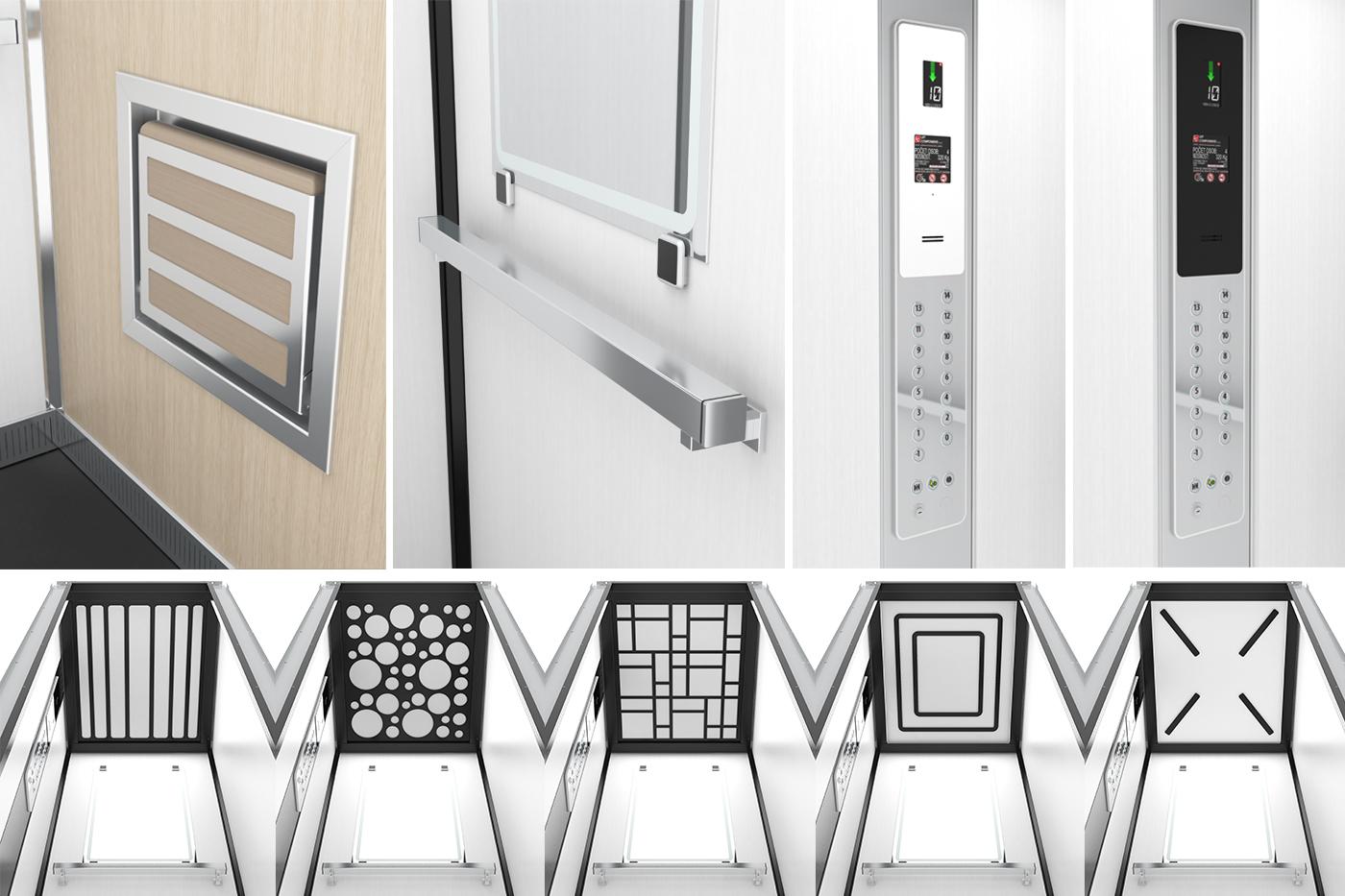 Kabiny mají tvarově a materiálově sladěné prvky a detaily. Ovládací panel je design firemních konstruktérů a po drobné tvarové korekci výborně zapadá do celkového designu kabiny. Vytvořil jsem několik designů stropních panelů spojených s osvětlením kabiny (zde je jen výběr).